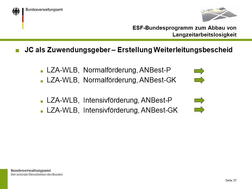 Seite: 37 ■JC als Zuwendungsgeber – Erstellung Weiterleitungsbescheid ■ LZA-WLB, Normalförderung, ANBest-P ■ LZA-WLB, Normalförderung, ANBest-GK ■ LZA-WLB, Intensivförderung, ANBest-P ■ LZA-WLB, Intensivförderung, ANBest-GK ESF-Bundesprogramm zum Abbau von Langzeitarbeitslosigkeit