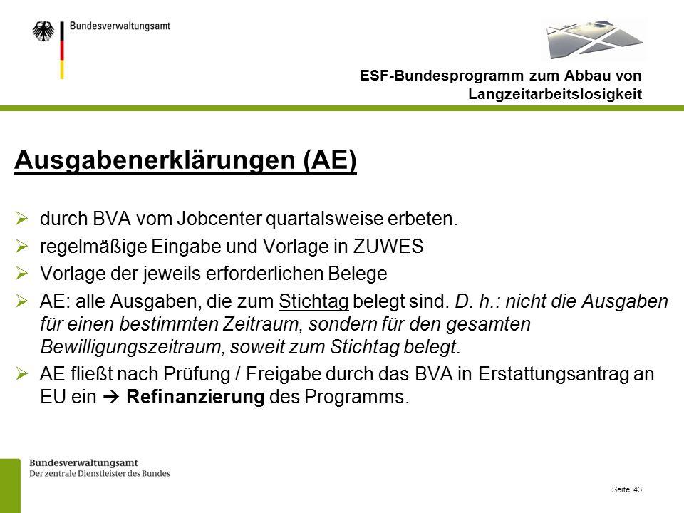 Seite: 43 Ausgabenerklärungen (AE)  durch BVA vom Jobcenter quartalsweise erbeten.