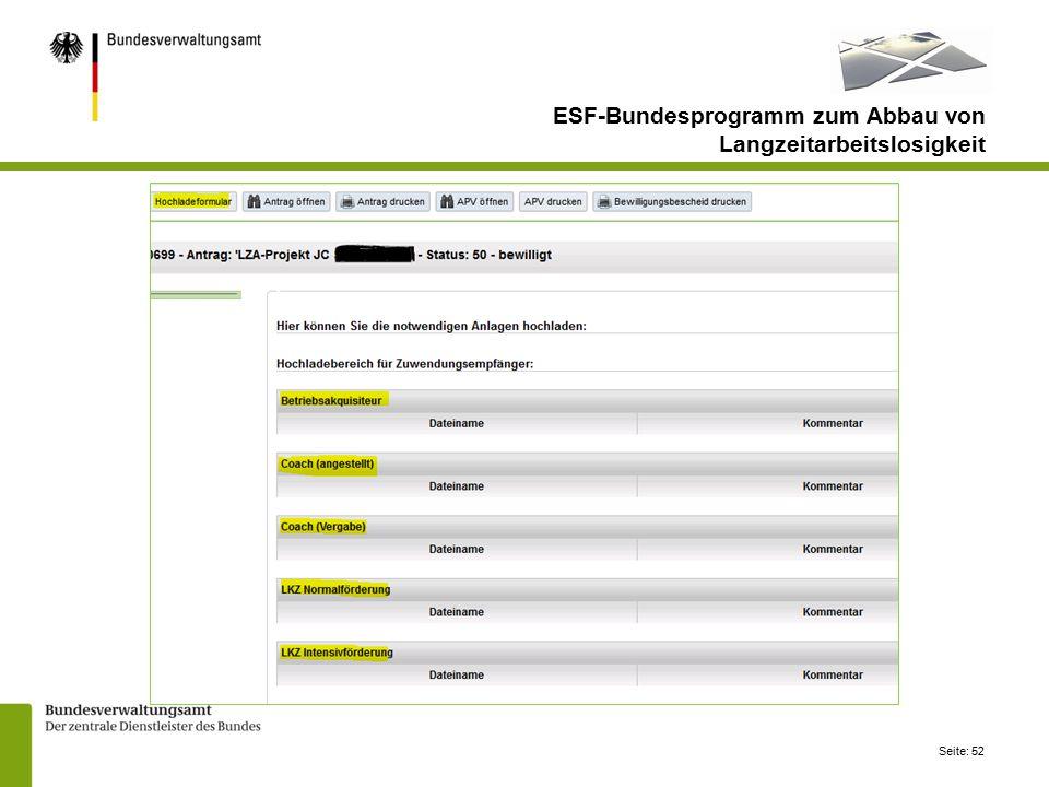 Seite: 52 ESF-Bundesprogramm zum Abbau von Langzeitarbeitslosigkeit