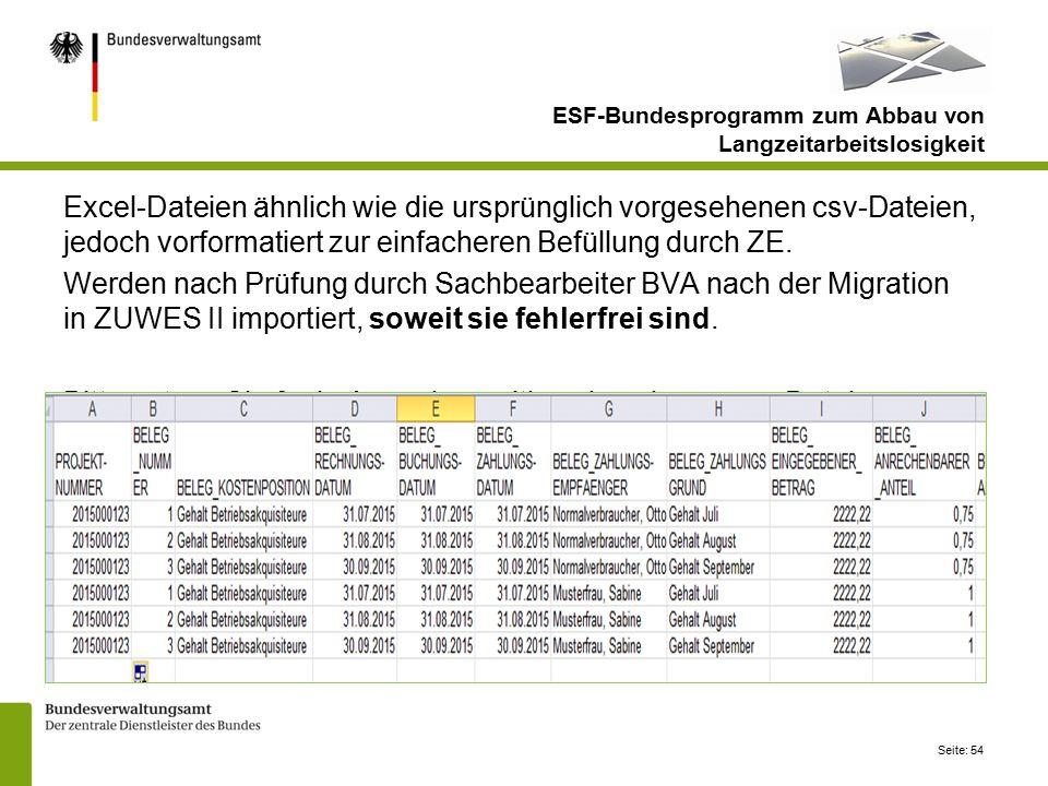 Seite: 54 ESF-Bundesprogramm zum Abbau von Langzeitarbeitslosigkeit Excel-Dateien ähnlich wie die ursprünglich vorgesehenen csv-Dateien, jedoch vorformatiert zur einfacheren Befüllung durch ZE.