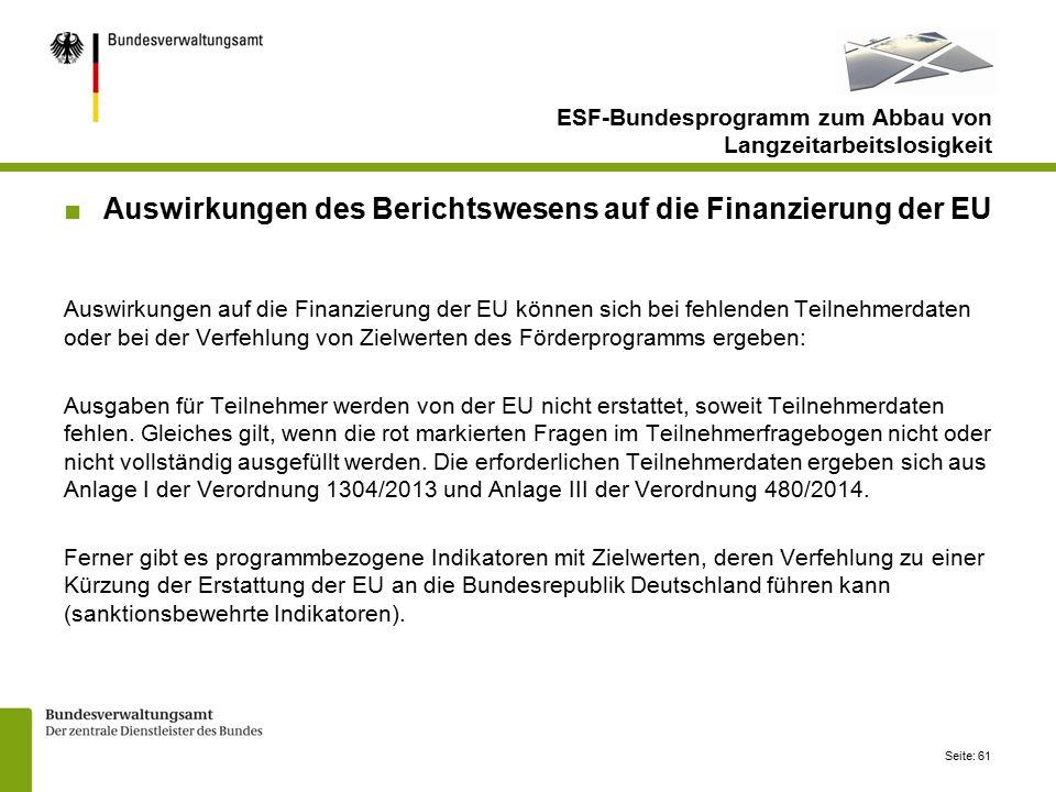 Seite: 61 ESF-Bundesprogramm zum Abbau von Langzeitarbeitslosigkeit ■Auswirkungen des Berichtswesens auf die Finanzierung der EU Auswirkungen auf die Finanzierung der EU können sich bei fehlenden Teilnehmerdaten oder bei der Verfehlung von Zielwerten des Förderprogramms ergeben: Ausgaben für Teilnehmer werden von der EU nicht erstattet, soweit Teilnehmerdaten fehlen.