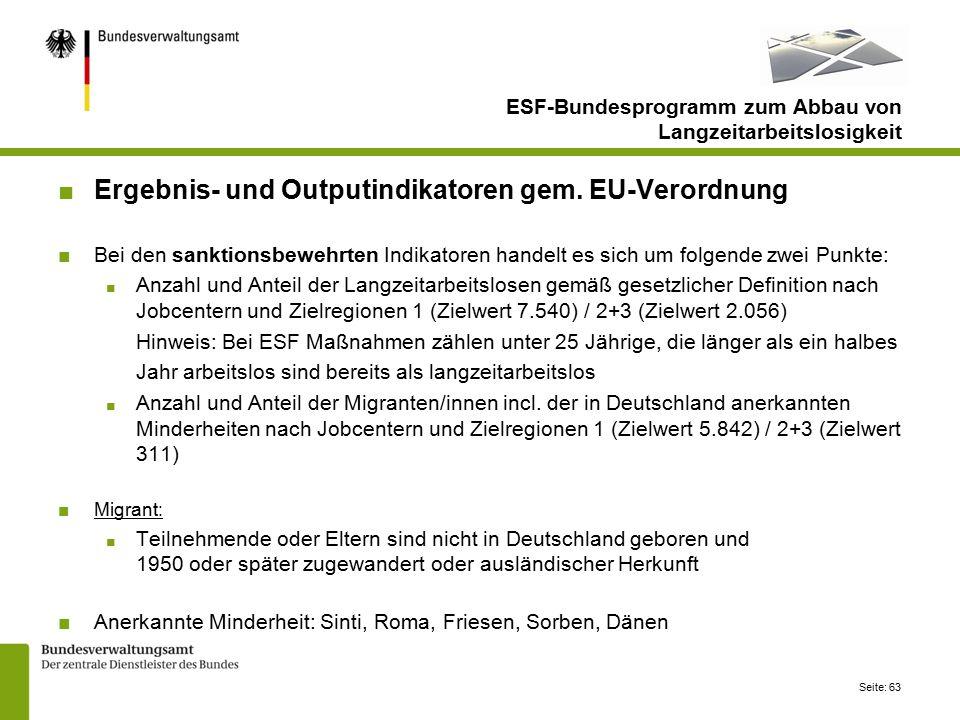 Seite: 63 ESF-Bundesprogramm zum Abbau von Langzeitarbeitslosigkeit ■Ergebnis- und Outputindikatoren gem.