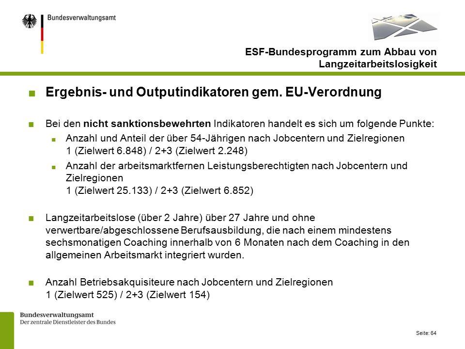 Seite: 64 ESF-Bundesprogramm zum Abbau von Langzeitarbeitslosigkeit ■Ergebnis- und Outputindikatoren gem.