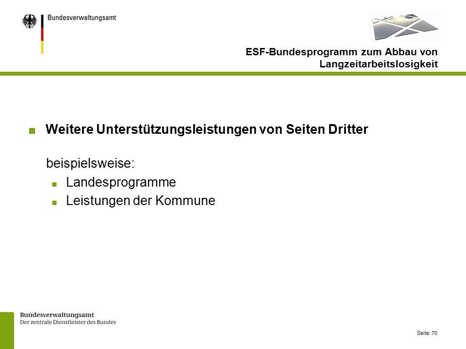 Seite: 70 ESF-Bundesprogramm zum Abbau von Langzeitarbeitslosigkeit ■Weitere Unterstützungsleistungen von Seiten Dritter beispielsweise: ■ Landesprogramme ■ Leistungen der Kommune