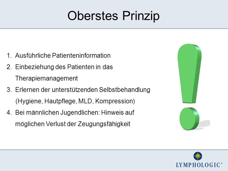 Oberstes Prinzip 1.Ausführliche Patienteninformation 2.Einbeziehung des Patienten in das Therapiemanagement 3.Erlernen der unterstützenden Selbstbehan