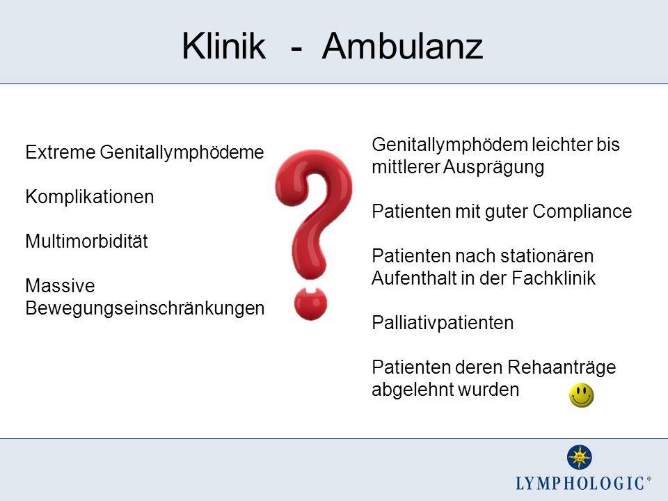 Klinik - Ambulanz Extreme Genitallymphödeme Komplikationen Multimorbidität Massive Bewegungseinschränkungen Genitallymphödem leichter bis mittlerer Au