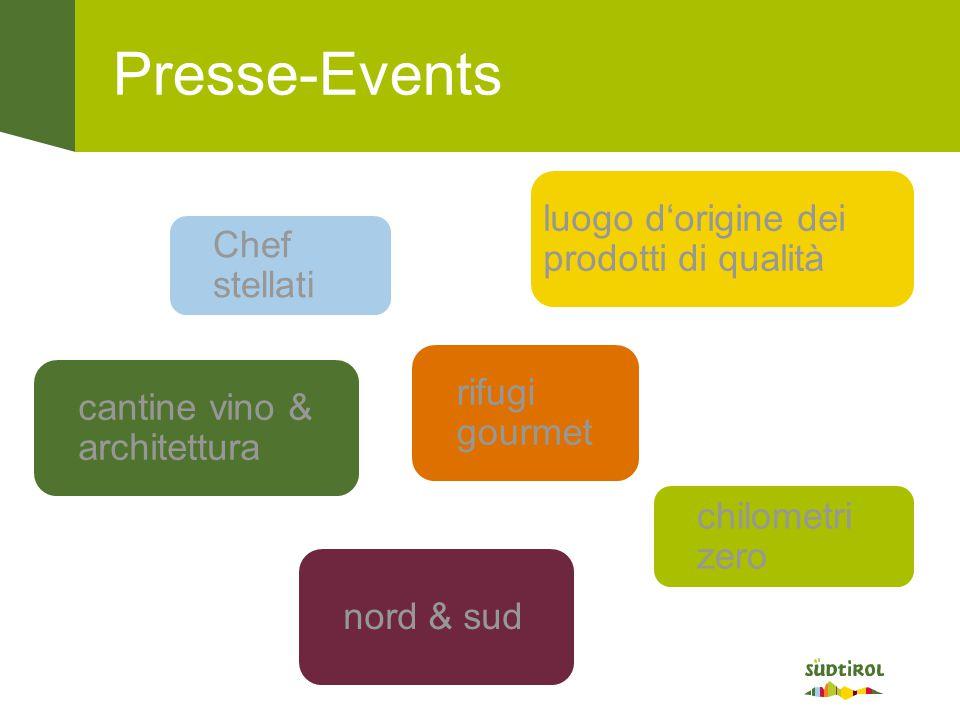Presse-Events chilometri zero Chef stellati rifugi gourmet cantine vino & architettura luogo d'origine dei prodotti di qualità nord & sud