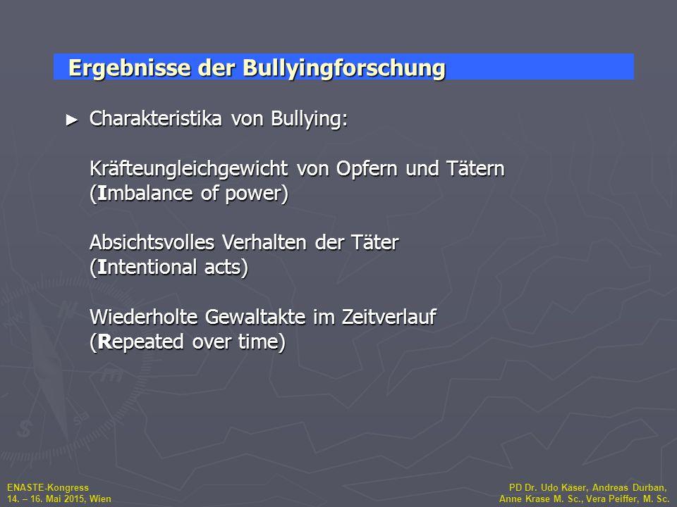 ENASTE-Kongress PD Dr. Udo Käser, Andreas Durban, 14. – 16. Mai 2015, Wien Anne Krase M. Sc., Vera Peiffer, M. Sc. ► Charakteristika von Bullying: Krä