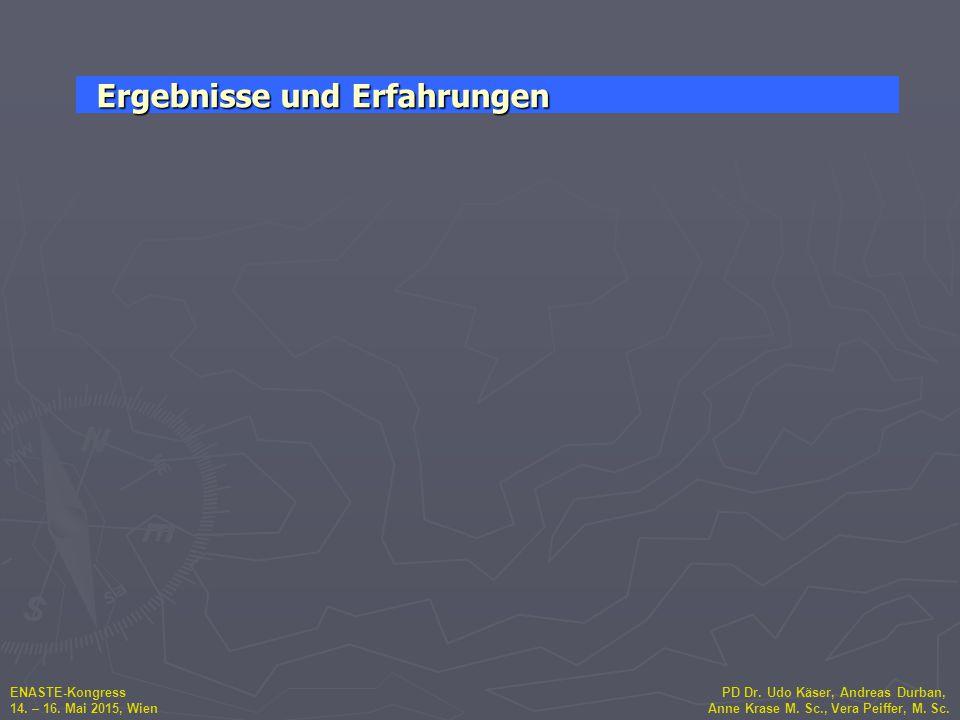 ENASTE-Kongress PD Dr. Udo Käser, Andreas Durban, 14. – 16. Mai 2015, Wien Anne Krase M. Sc., Vera Peiffer, M. Sc. Ergebnisse und Erfahrungen