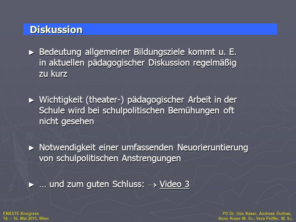 ENASTE-Kongress PD Dr. Udo Käser, Andreas Durban, 14. – 16. Mai 2015, Wien Anne Krase M. Sc., Vera Peiffer, M. Sc. ► Bedeutung allgemeiner Bildungszie