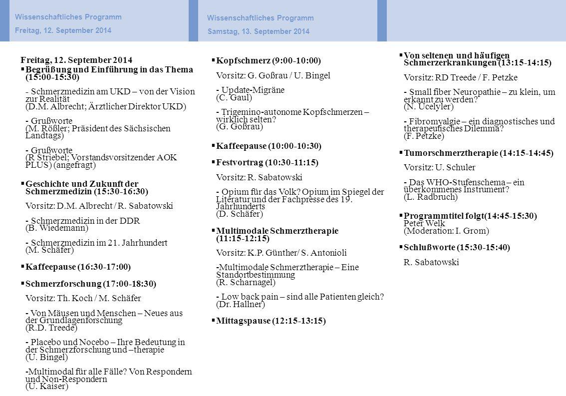 Wissenschaftliches Programm Samstag, 13. September 2014  Kopfschmerz (9:00-10:00) Vorsitz: G.