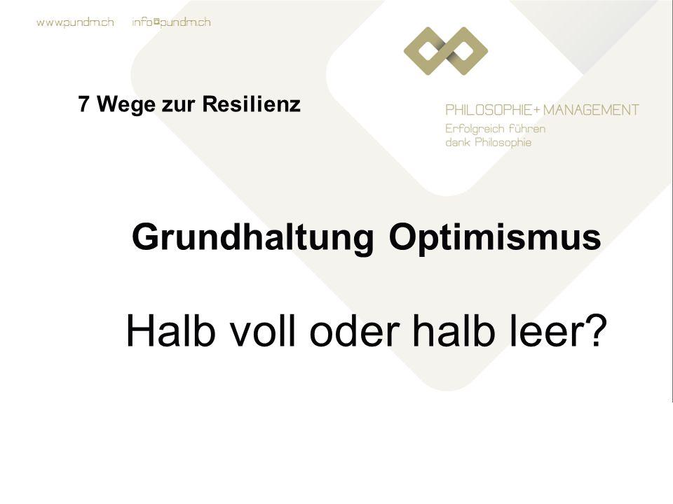 www.pundm.ch info@pundm.ch 7 Wege zur Resilienz Grundhaltung Optimismus Halb voll oder halb leer?