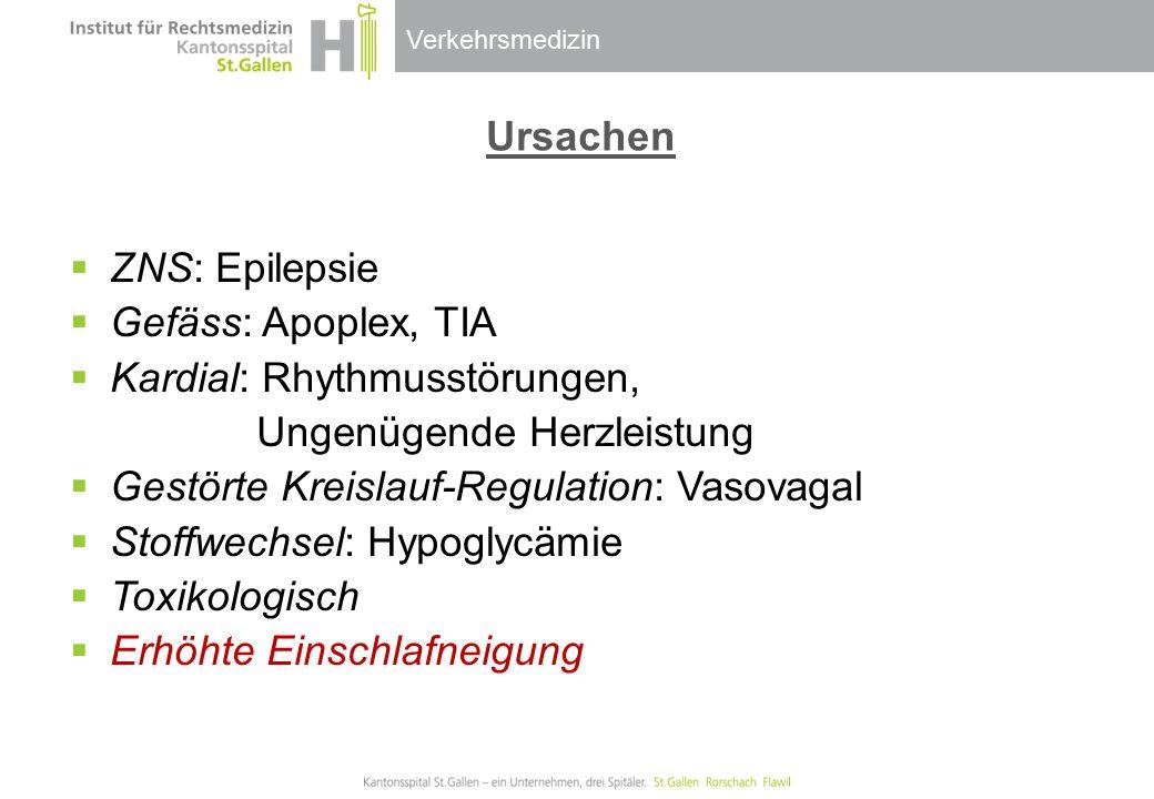 Verkehrsmedizin Ursachen  ZNS: Epilepsie  Gefäss: Apoplex, TIA  Kardial: Rhythmusstörungen, Ungenügende Herzleistung  Gestörte Kreislauf-Regulatio