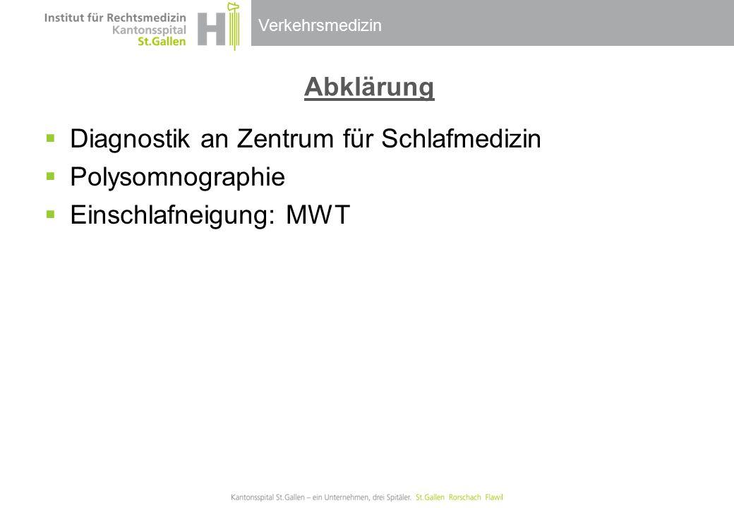 Verkehrsmedizin Abklärung  Diagnostik an Zentrum für Schlafmedizin  Polysomnographie  Einschlafneigung: MWT