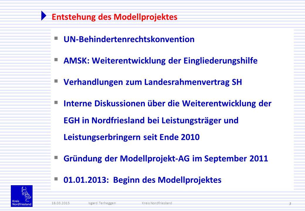 Entstehung des Modellprojektes  UN-Behindertenrechtskonvention  AMSK: Weiterentwicklung der Eingliederungshilfe  Verhandlungen zum Landesrahmenvert
