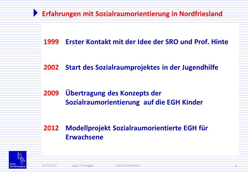 Erfahrungen mit Sozialraumorientierung in Nordfriesland 1999Erster Kontakt mit der Idee der SRO und Prof. Hinte 2002Start des Sozialraumprojektes in d