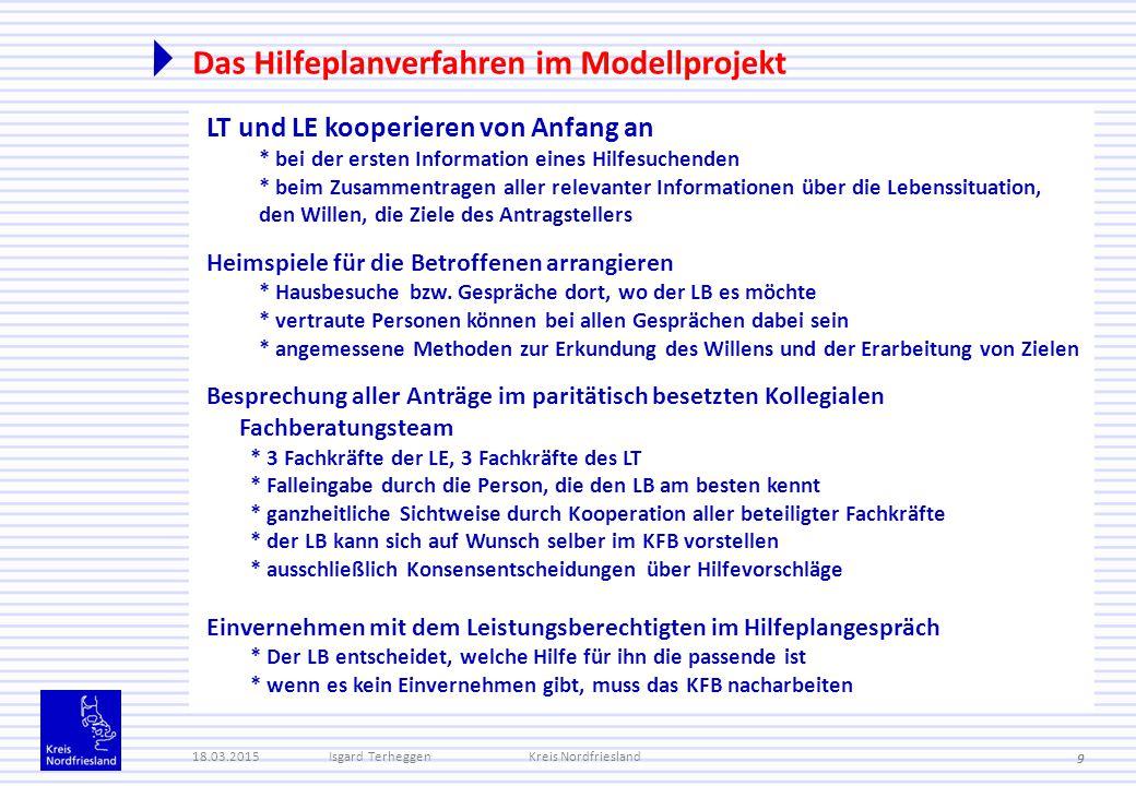 Das Hilfeplanverfahren im Modellprojekt 18.03.2015Isgard TerheggenKreis Nordfriesland 9 LT und LE kooperieren von Anfang an * bei der ersten Informati