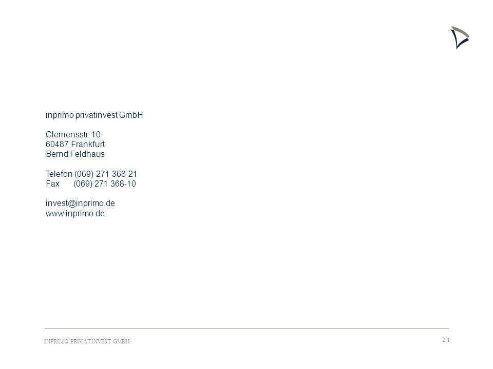 INPRIMO PRIVATINVEST GMBH 24 inprimo privatinvest GmbH Clemensstr. 10 60487 Frankfurt Bernd Feldhaus Telefon (069) 271 368-21 Fax (069) 271 368-10 inv