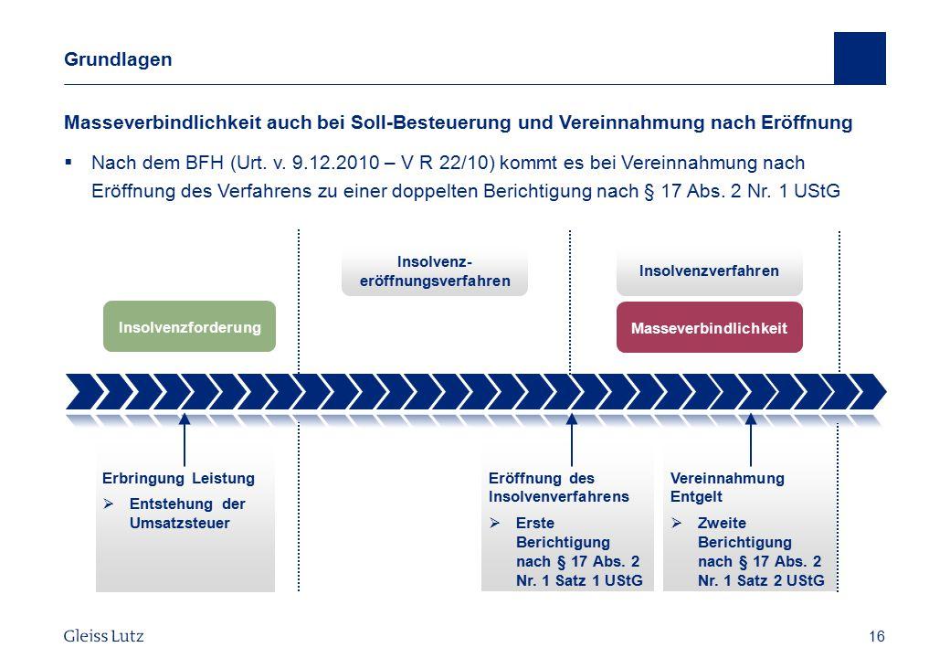 16 Grundlagen Masseverbindlichkeit auch bei Soll-Besteuerung und Vereinnahmung nach Eröffnung  Nach dem BFH (Urt. v. 9.12.2010 – V R 22/10) kommt es