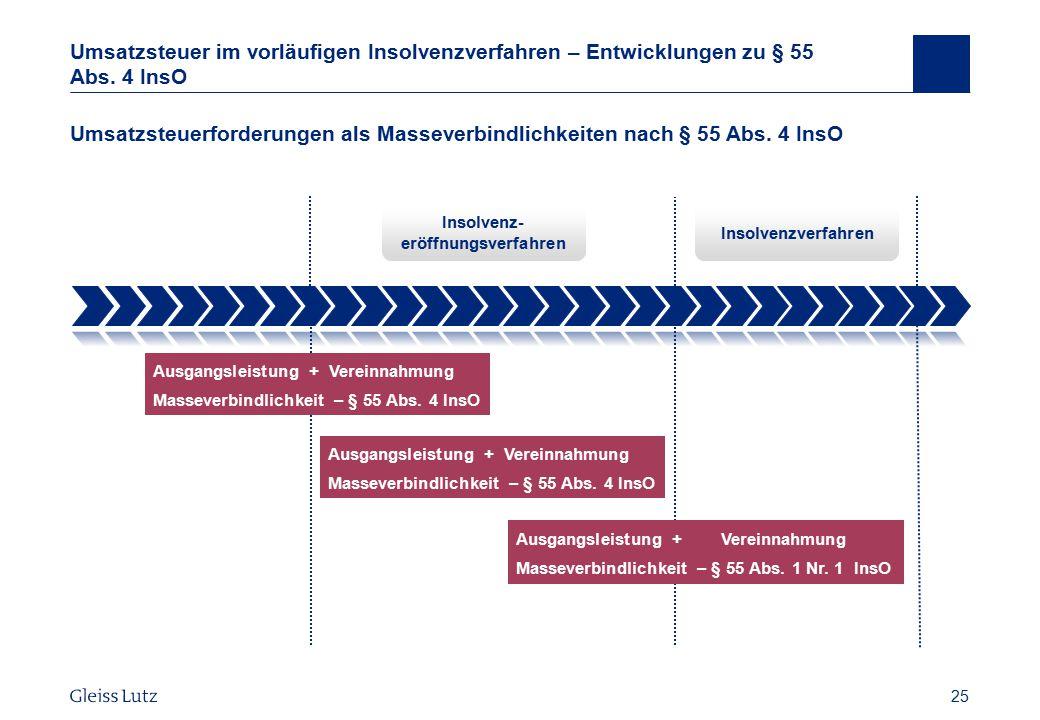 25 Umsatzsteuer im vorläufigen Insolvenzverfahren – Entwicklungen zu § 55 Abs. 4 InsO Umsatzsteuerforderungen als Masseverbindlichkeiten nach § 55 Abs