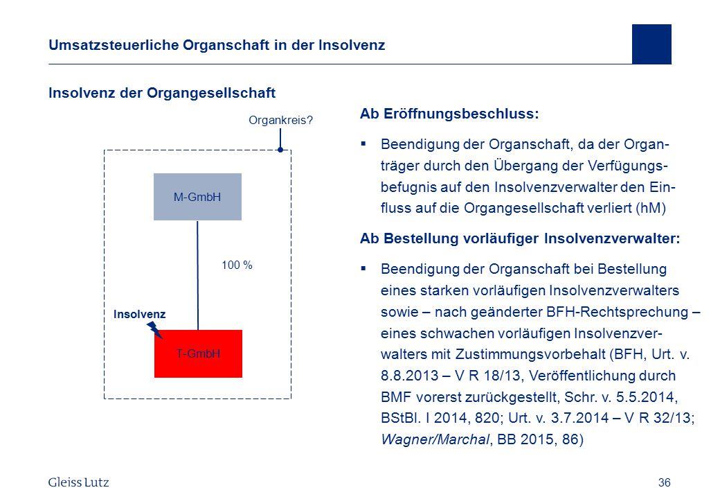 36 Umsatzsteuerliche Organschaft in der Insolvenz Insolvenz der Organgesellschaft Vorname Name, Datum 36 Organkreis? T-GmbH 100 % M-GmbH Ab Eröffnungs