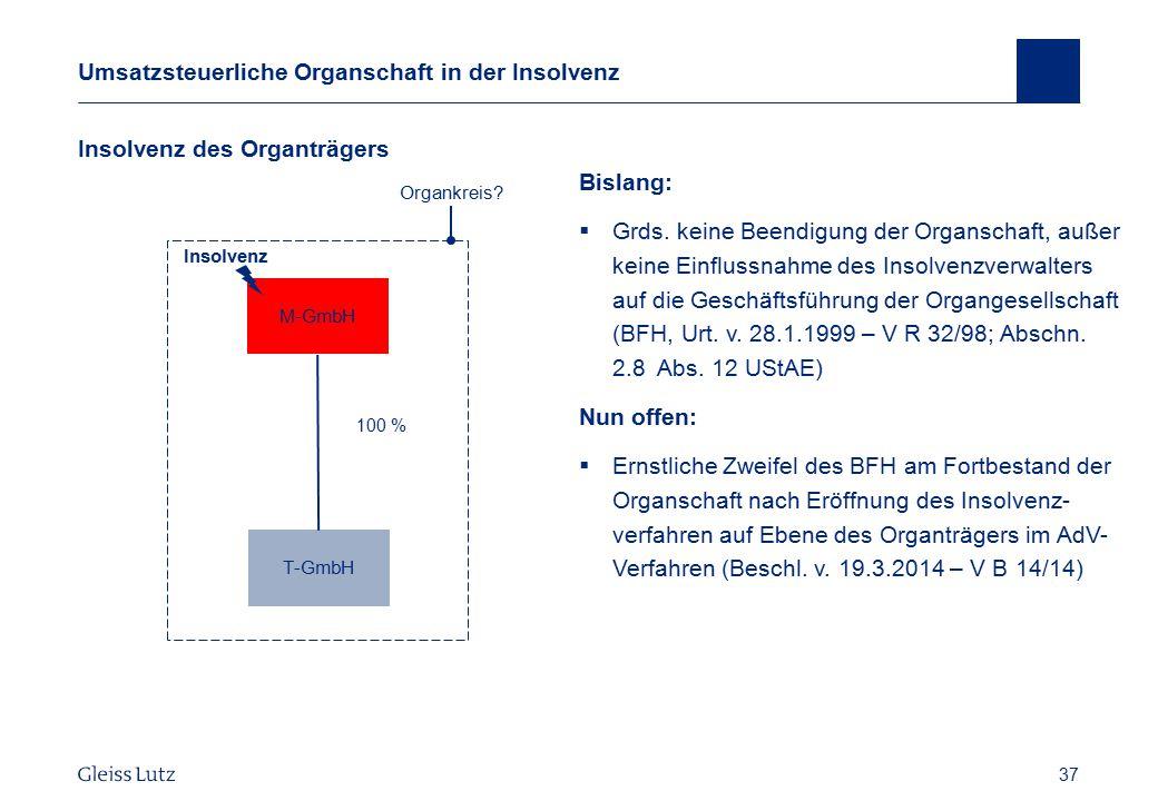 37 Umsatzsteuerliche Organschaft in der Insolvenz Insolvenz des Organträgers Vorname Name, Datum 37 Organkreis? T-GmbH 100 % M-GmbH Bislang:  Grds. k