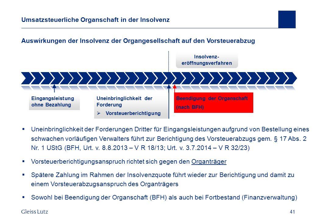 41 Umsatzsteuerliche Organschaft in der Insolvenz Auswirkungen der Insolvenz der Organgesellschaft auf den Vorsteuerabzug Vorname Name, Datum 41  Une
