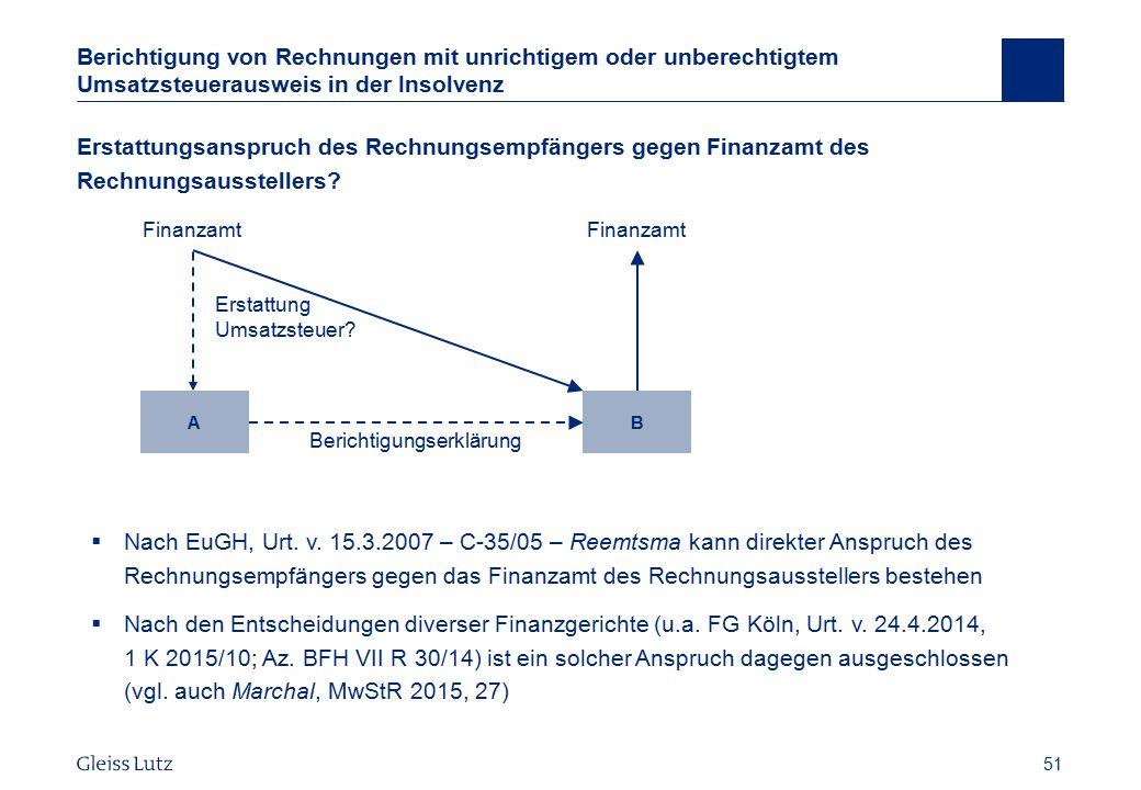 51 Berichtigung von Rechnungen mit unrichtigem oder unberechtigtem Umsatzsteuerausweis in der Insolvenz Erstattungsanspruch des Rechnungsempfängers ge