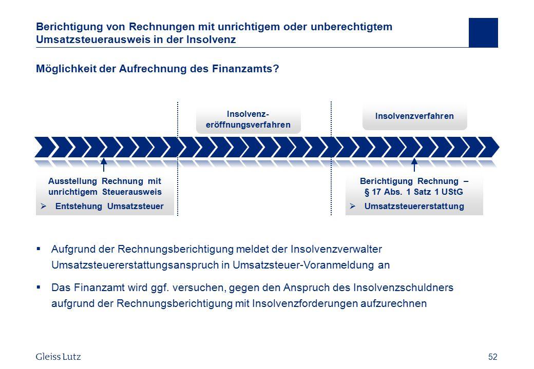 52 Berichtigung von Rechnungen mit unrichtigem oder unberechtigtem Umsatzsteuerausweis in der Insolvenz Möglichkeit der Aufrechnung des Finanzamts? 