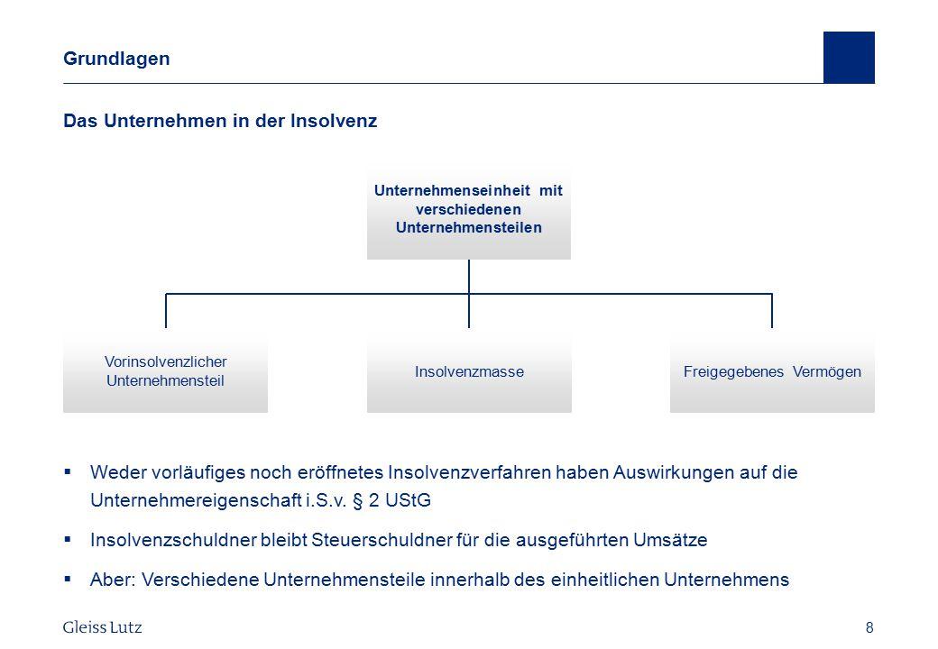 8 Grundlagen Das Unternehmen in der Insolvenz Vorname Name, Datum 8 Freigegebenes Vermögen Unternehmenseinheit mit verschiedenen Unternehmensteilen In
