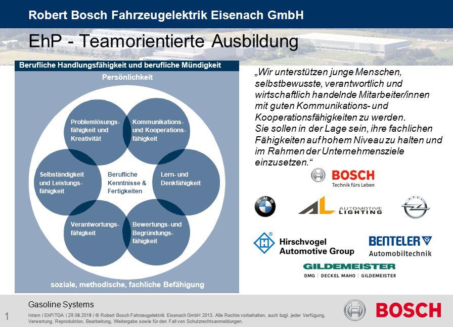 Teamorientierte Ausbildung Intern | EhP/TGA | 24.04.2015 | © Robert Bosch Fahrzeugelektrik Eisenach GmbH 2013.