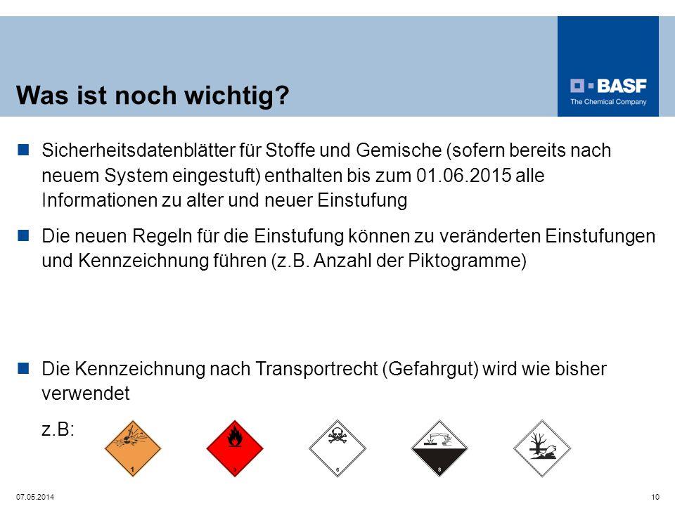 Was ist noch wichtig? Sicherheitsdatenblätter für Stoffe und Gemische (sofern bereits nach neuem System eingestuft) enthalten bis zum 01.06.2015 alle