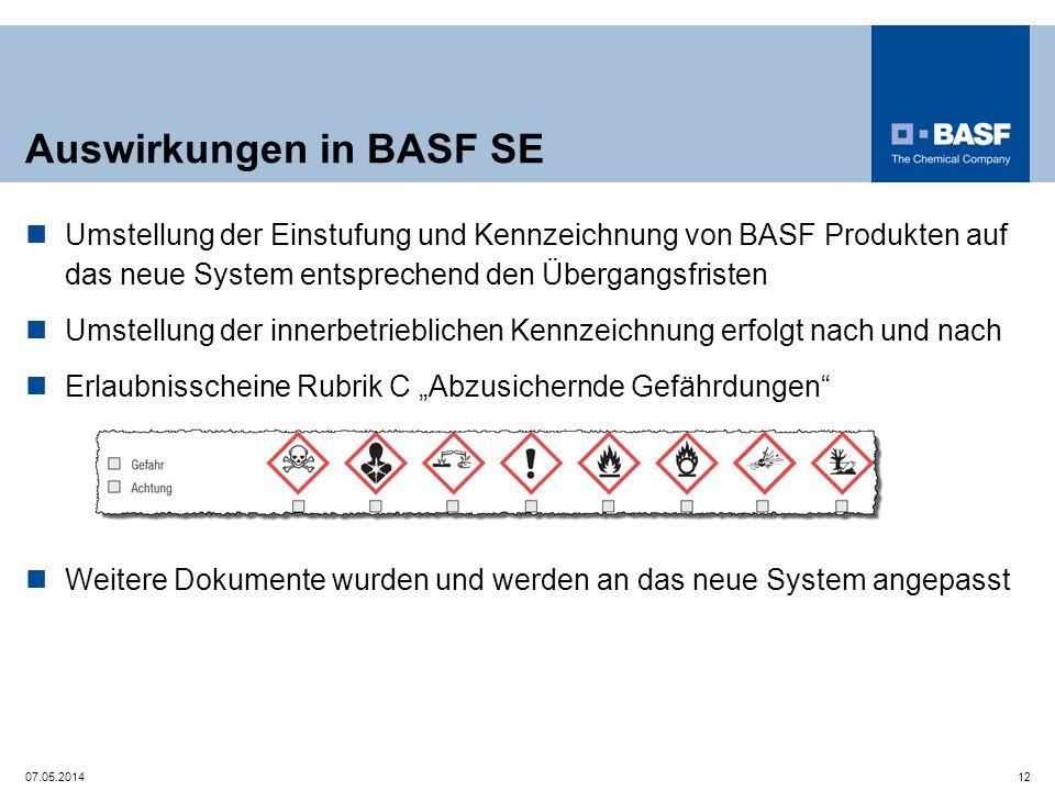Auswirkungen in BASF SE Umstellung der Einstufung und Kennzeichnung von BASF Produkten auf das neue System entsprechend den Übergangsfristen Umstellun