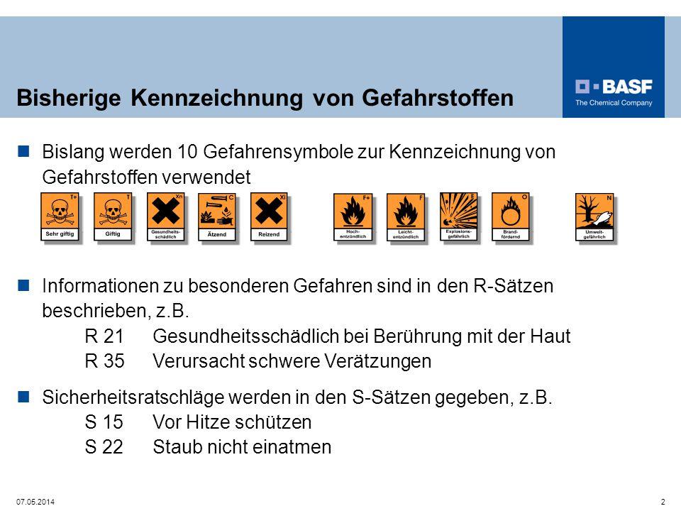 Anpassung des nationalen Gefahrstoffrechts bis 2015 (Gefahrstoffverordnung, Technische Regeln für Gefahrstoffe und weitere Regelwerke) Weltweit einheitliches System zur Einstufung und Kennzeichnung von Chemikalien UN-GHS (Globally Harmonized System) Weltweit einheitliches System Umsetzung in der EU durch CLP-Verordnung Classification, Labelling and Packaging of Substances and Mixtures seit 20.