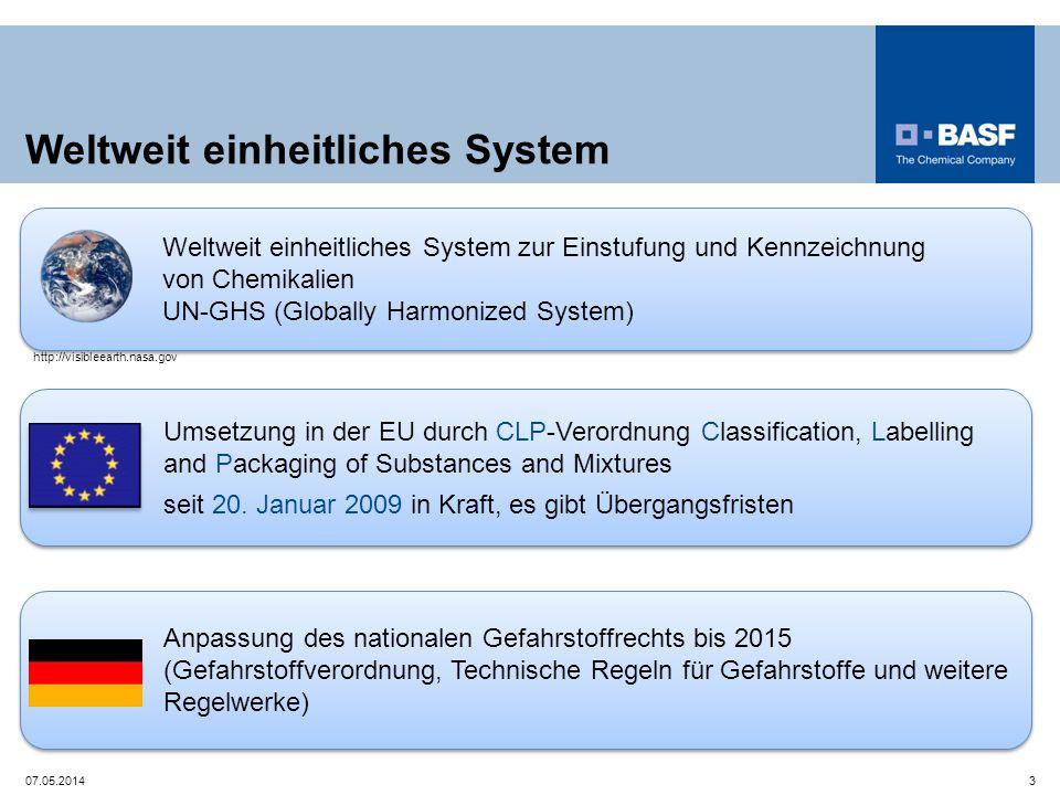 Anpassung des nationalen Gefahrstoffrechts bis 2015 (Gefahrstoffverordnung, Technische Regeln für Gefahrstoffe und weitere Regelwerke) Weltweit einhei