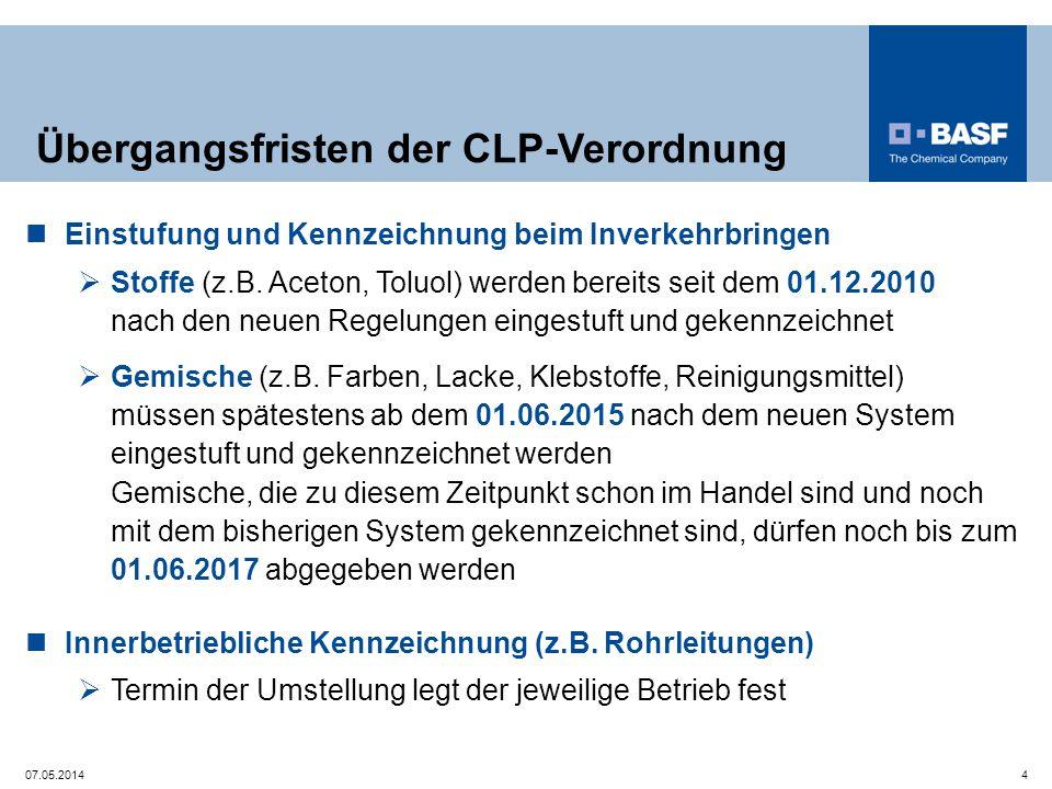 Übergangsfristen der CLP-Verordnung Einstufung und Kennzeichnung beim Inverkehrbringen  Stoffe (z.B. Aceton, Toluol) werden bereits seit dem 01.12.20