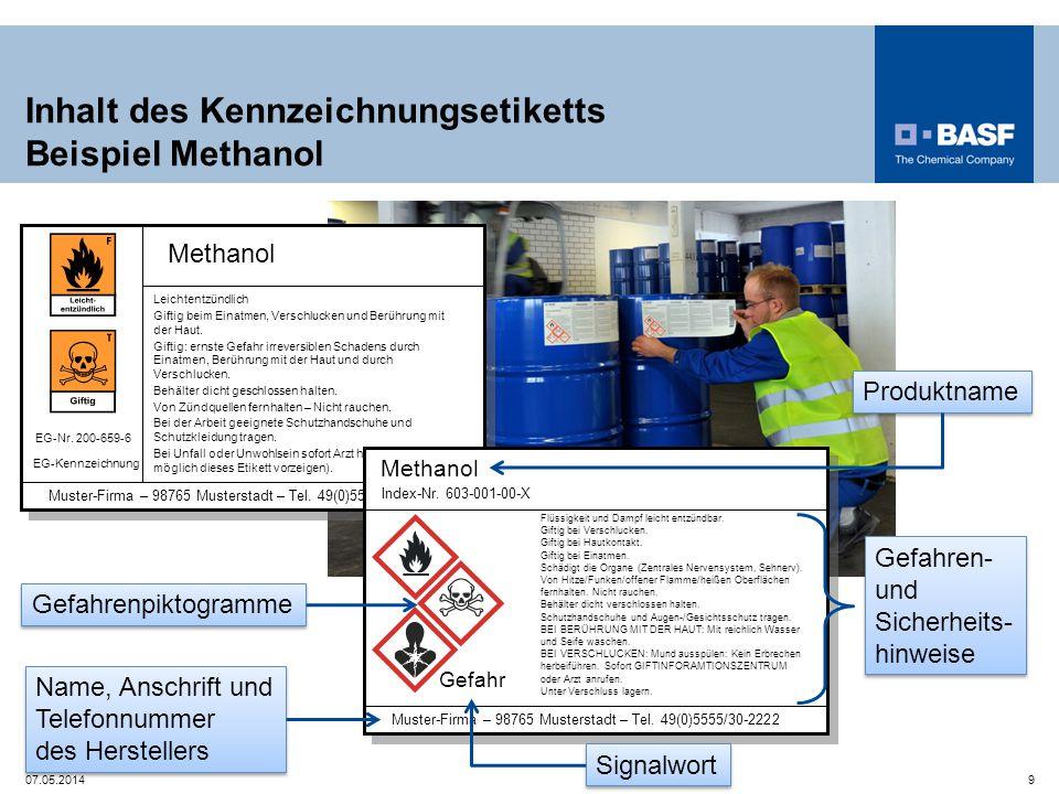 Inhalt des Kennzeichnungsetiketts Beispiel Methanol Methanol EG-Nr. 200-659-6 Muster-Firma – 98765 Musterstadt – Tel. 49(0)5555/30-2222 Leichtentzündl