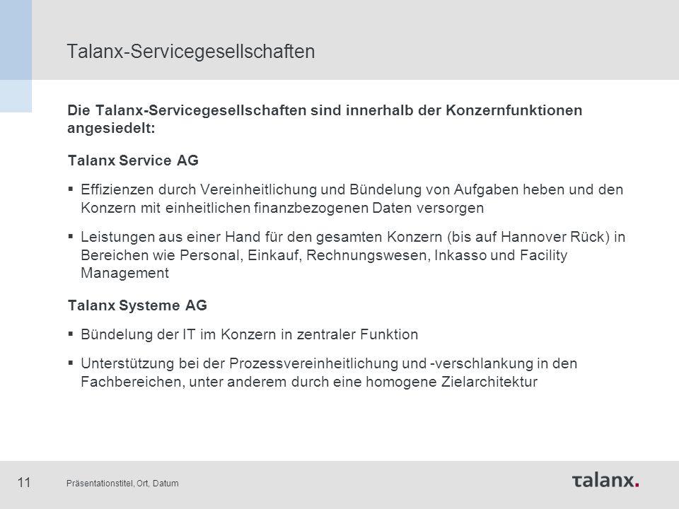 Präsentationstitel, Ort, Datum 11 Talanx-Servicegesellschaften Die Talanx-Servicegesellschaften sind innerhalb der Konzernfunktionen angesiedelt: Tala