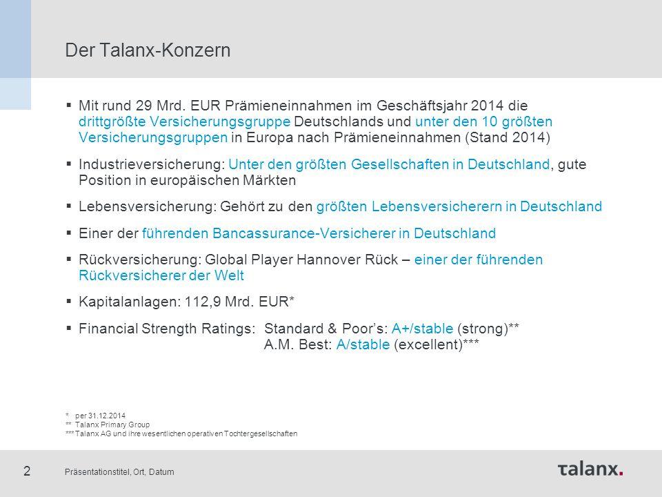 Präsentationstitel, Ort, Datum 2 Der Talanx-Konzern  Mit rund 29 Mrd. EUR Prämieneinnahmen im Geschäftsjahr 2014 die drittgrößte Versicherungsgruppe