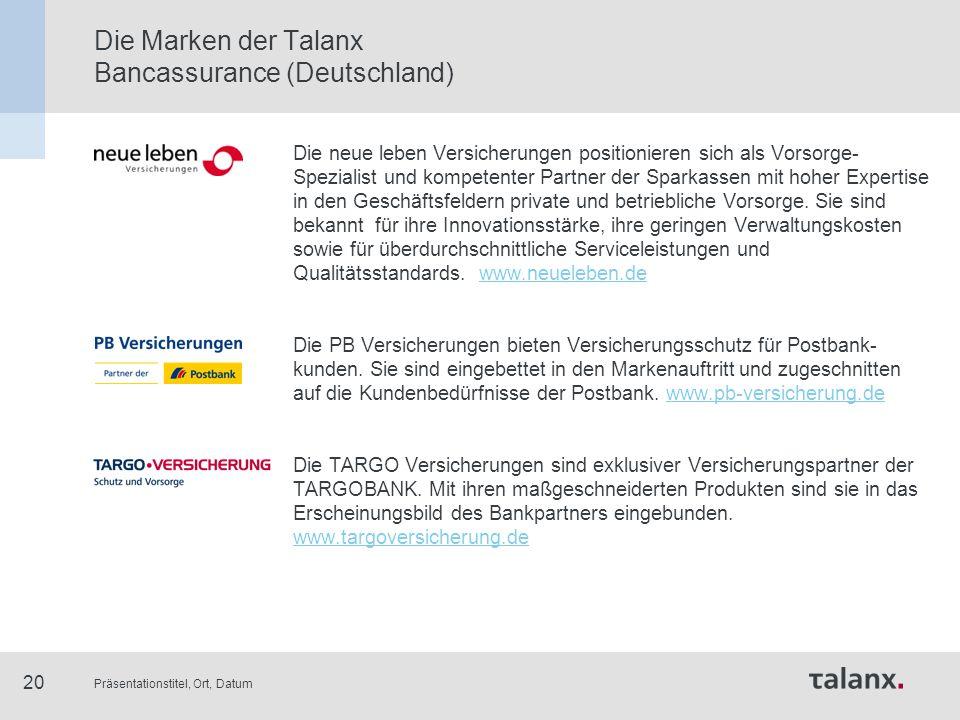 Präsentationstitel, Ort, Datum 20 Die Marken der Talanx Bancassurance (Deutschland) Die neue leben Versicherungen positionieren sich als Vorsorge- Spe