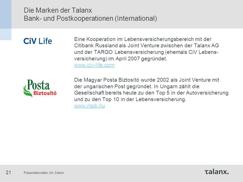 Präsentationstitel, Ort, Datum 21 Die Marken der Talanx Bank- und Postkooperationen (International) Eine Kooperation im Lebensversicherungsbereich mit