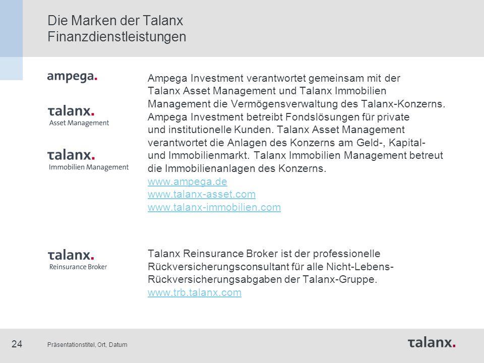 Präsentationstitel, Ort, Datum 24 Die Marken der Talanx Finanzdienstleistungen Ampega Investment verantwortet gemeinsam mit der Talanx Asset Managemen