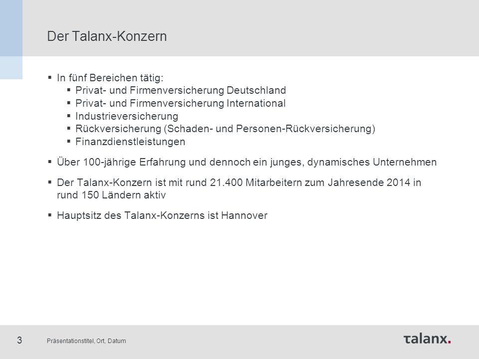 Präsentationstitel, Ort, Datum 3 Der Talanx-Konzern  In fünf Bereichen tätig:  Privat- und Firmenversicherung Deutschland  Privat- und Firmenversic