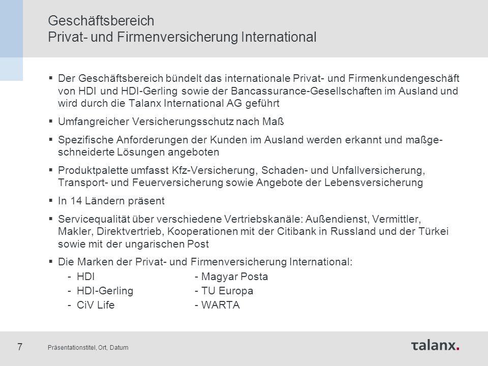 Präsentationstitel, Ort, Datum 18 Talanx-Konzern: Fünf Bereiche Industrie- versicherung Privat- und Firmen- versicherung Deutschland Schaden- und Personen- Rückversicherung Privat- und Firmenversiche- rung International Finanz- dienstleistungen