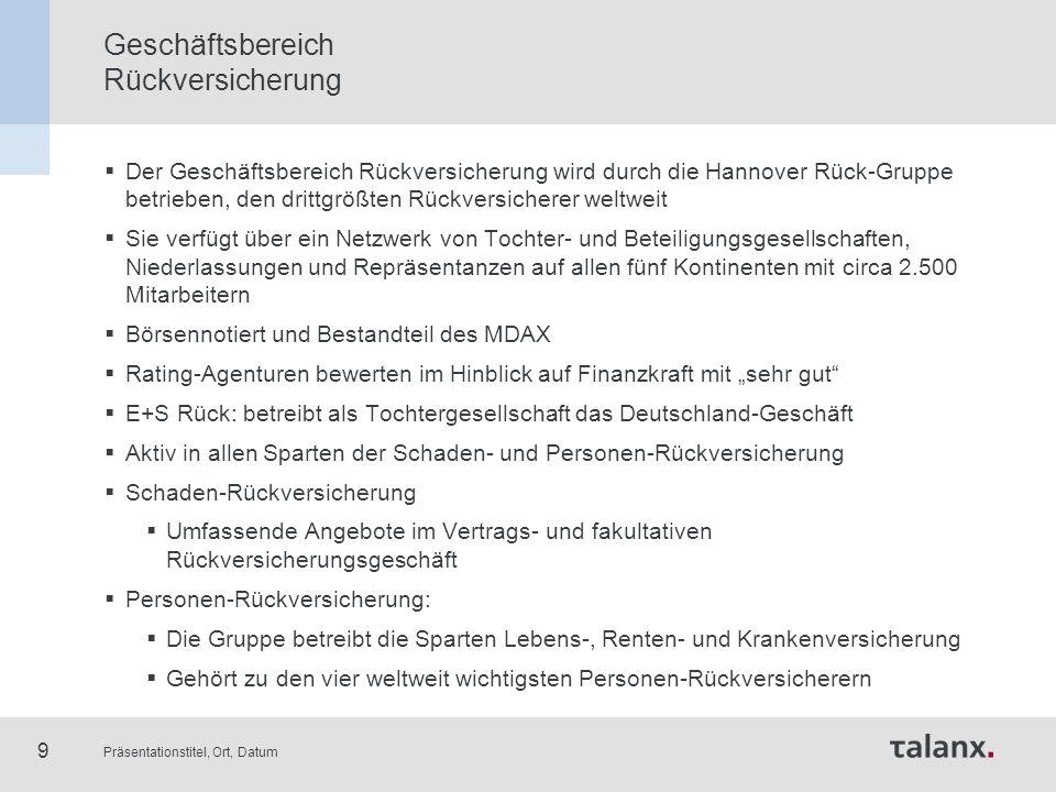 Präsentationstitel, Ort, Datum 9 Geschäftsbereich Rückversicherung  Der Geschäftsbereich Rückversicherung wird durch die Hannover Rück-Gruppe betrieb