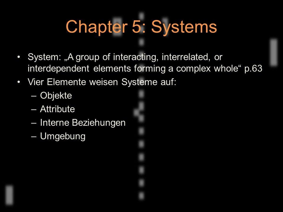 Chapter 5: Systems Unterschiedliche Möglichkeiten ein Spiel als System einzuordnen –Formal –Empirisch –Kulturell Unterscheidung zwischen offenen und geschlossenen Systemen