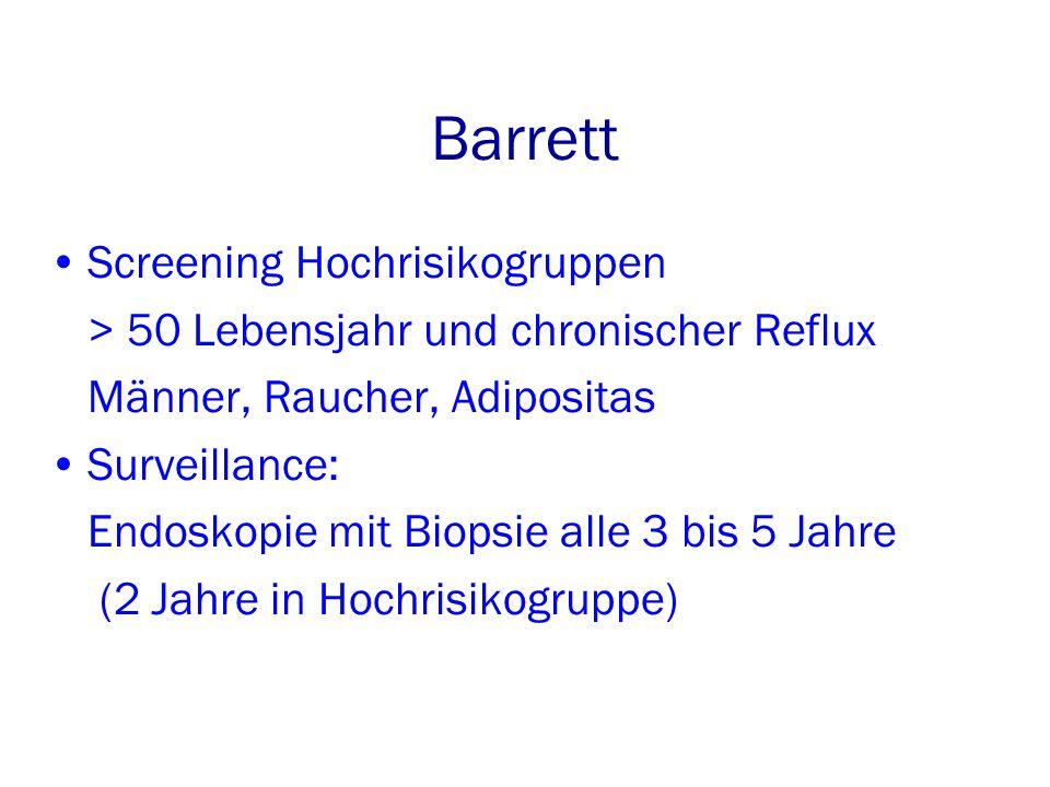 Barrett Screening Hochrisikogruppen > 50 Lebensjahr und chronischer Reflux Männer, Raucher, Adipositas Surveillance: Endoskopie mit Biopsie alle 3 bis 5 Jahre (2 Jahre in Hochrisikogruppe)