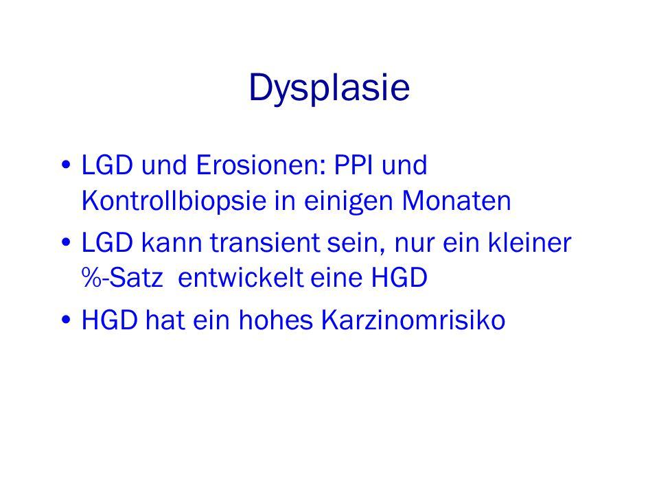 Dysplasie LGD und Erosionen: PPI und Kontrollbiopsie in einigen Monaten LGD kann transient sein, nur ein kleiner %-Satz entwickelt eine HGD HGD hat ein hohes Karzinomrisiko