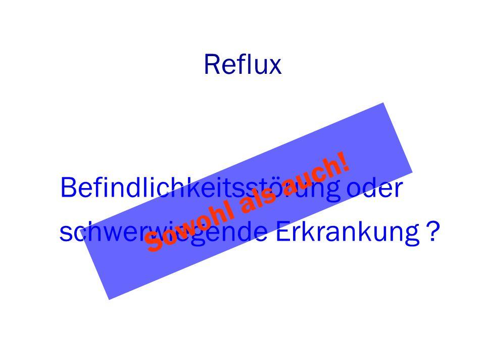 Reflux Befindlichkeitsstörung oder schwerwiegende Erkrankung ? Sowohl als auch!