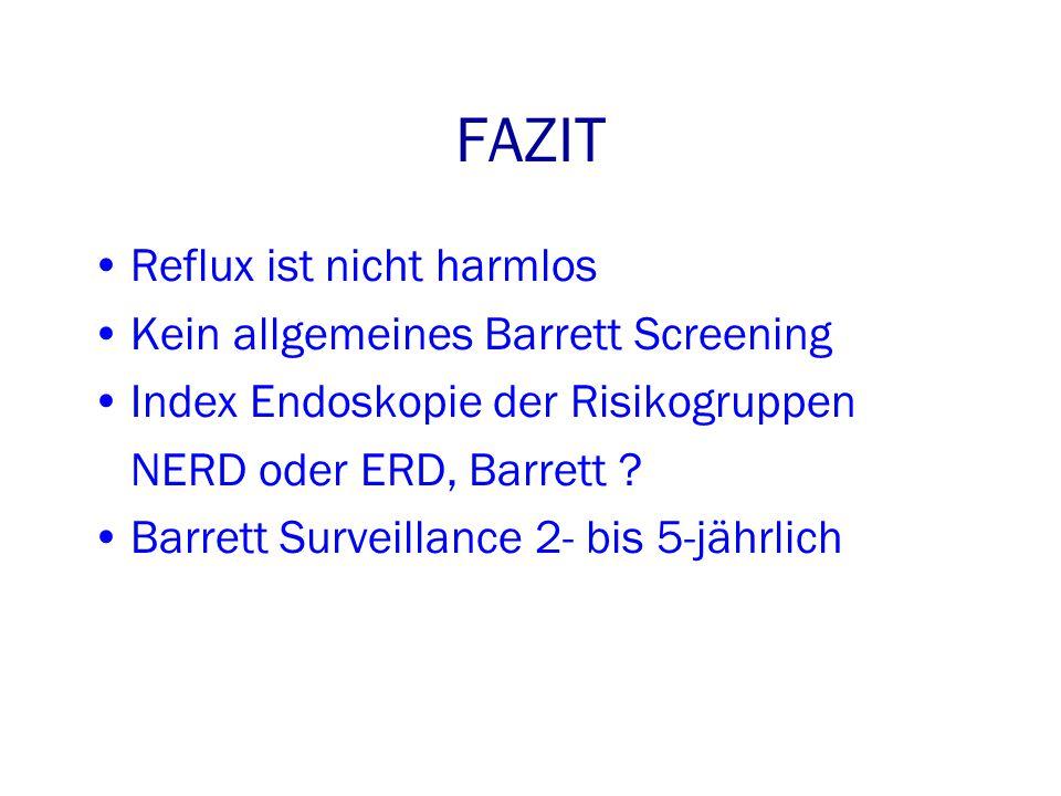 FAZIT Reflux ist nicht harmlos Kein allgemeines Barrett Screening Index Endoskopie der Risikogruppen NERD oder ERD, Barrett .